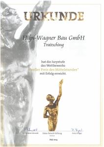 Hilpl-Wagner Bau - Urkunde Großer Preis des Mittelstandes